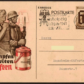"1940 - German ""Winter Relief"" Military Postal Card - Postcards"