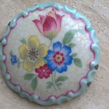 Unusual Rosenthal Germany Porcelain Hand Painted Brooch w/Silver Mount