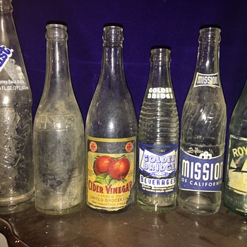 6 antique soda bottles most from bay area - Bottles