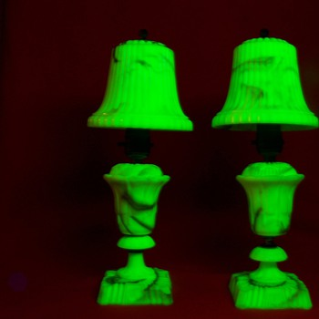 Pair of Uranium Glass Akro Agate Lamps with Akro Shades - Art Deco