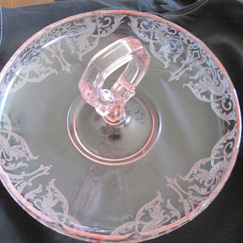 Pink Glass Dragon Etched Candy Bowl with Heart Handle - Glassware