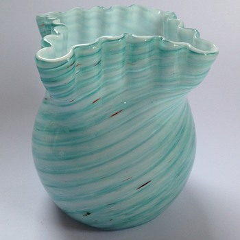 Victorian Welz blue swirled stripe cased glass vase