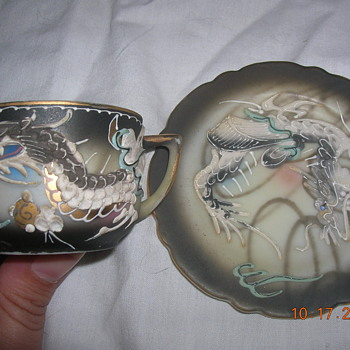 Japanese Dragonware Nude Lithophane Tea cup and saucer - Asian