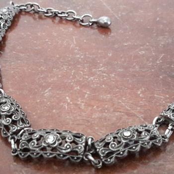 1950s? marcasite bracelet & silver brooch
