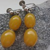 Art deco eggyolk (?) stone or early plastic earrings