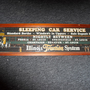 Illinois Traction Sleeping Car Service Sign - Railroadiana