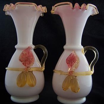 Delightful set of Stevens Williams Applied Milk Glass Vases with Pink Encased Glass