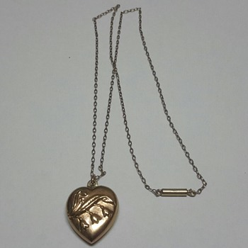 "9ct Rose Gold Puffy Heart Pendant with ""Lily of the Valley"""