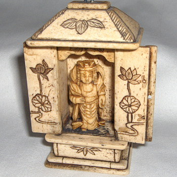 Home Carved Etched Bone Guanyin Buddhist Goddess Shrine  - Asian