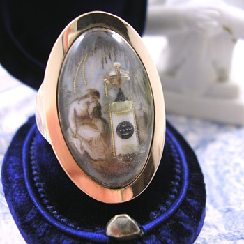 Georgian Mourning Ring Rose Gold with Ivory Hair Miniature - Fine Jewelry