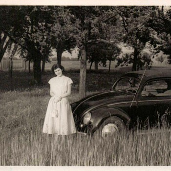 1953 - Family Photo - Mom & Her VW