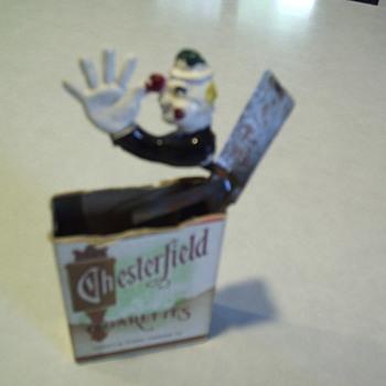 Vintage 1940s Chesterfield Cigarette Jack in the Box - Tobacciana