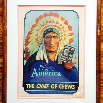 "Red Man Tobacco ""First In America"" Ad/Poster - Tobacciana"