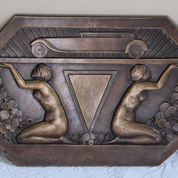 HUGE circa 1930 Art Deco Bronze Nudes & Automobile Plaque - Art Deco