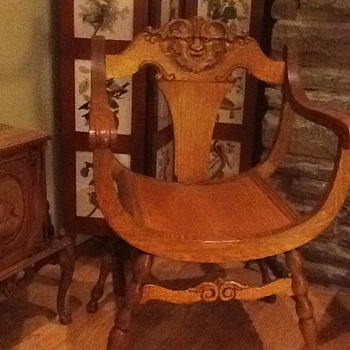 Hand carved barrel seat chair