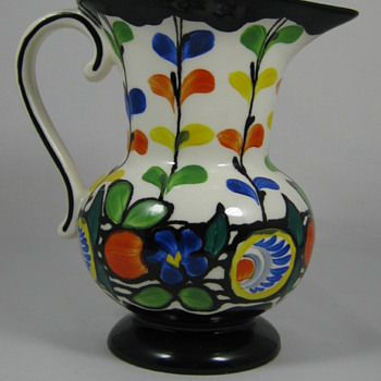 Czech Art Deco era Hand Painted Pottery Pitcher Ditmar Urbach Slip Design - Art Pottery