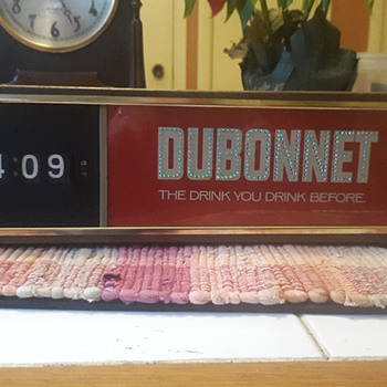 1970s Dubonnet Aperitif Bar Sign with Clock, United Clock Movement, Schenley Industries Mfg.