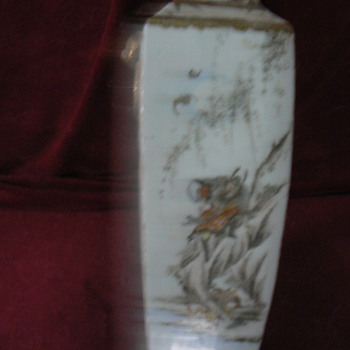 Small square oriental vase with  warrior