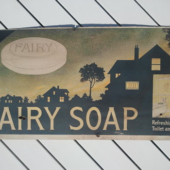 Pre - 1920&#039;s Cardboard Trolley Car Fairy Soap Advertisement Sign