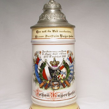 Imperial  German Reservist's stein of Jäger Johan Mayerhofer 1877-1880