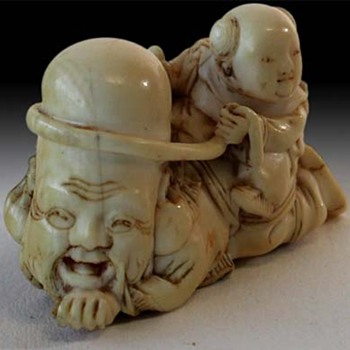 Signed 19th C. Japanese Ivory Netsuke of Fukurokuju - Asian