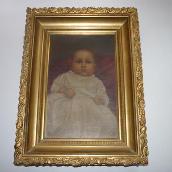 Oil on canvas of a Infant signed H R L ? and dated Dec 25th 1894