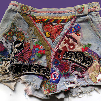 #14 ~ The Ultimate DEADHEAD Patched & Embroidered Hippie Denim Shorts - Music Memorabilia