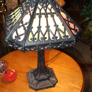 Old Metal and Slag Glass Lamp. - Lamps