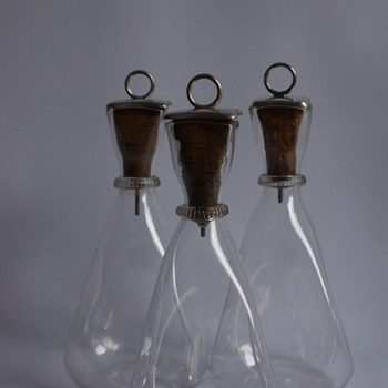 Three Silver Topped Carafes - Art Glass