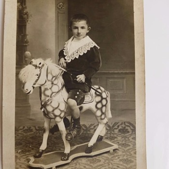 JUST GOT IT!!  PRISSY BOY ON WONDERFUL ROCKING HORSE! c 1900.