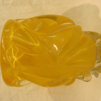 Chunky orange retro vase - Art Glass