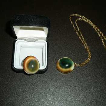 My Mother's Cat Eye Ring and Necklace - Costume Jewelry