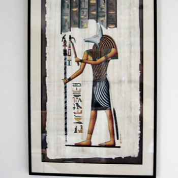 Hieroglyphic painting of Egyptian God Anubis on Papyrus