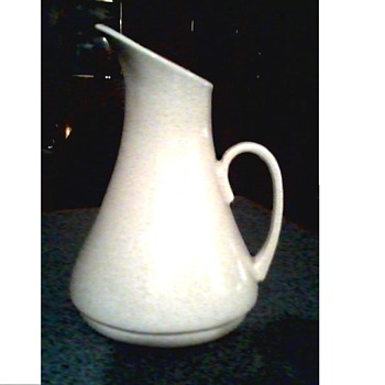 "Mid-Century White Pottery Pitcher/ Marked USA ""924 ? "" / Unknown Maker and Age - Art Pottery"