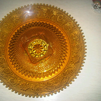 Antique Glass Lazy Susan - Orange? - Glassware