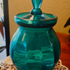 Beautiful Blue/Auqa  Glass Jar