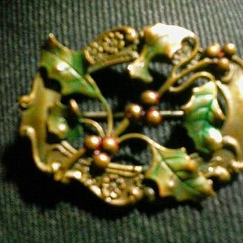 "Victorian-Edwardian Era  ""Holly"" Brooch /2"" Brass-Silver (?) Unmarked/ Circa Early 20th Century"