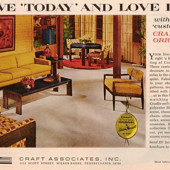 1968 - Craft Associates (Adrian Pearsall) Furniture Advertisement - Advertising