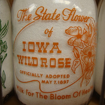 State Flower of Iowa Milk Bottle.......