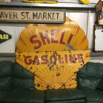 1930 six foot SHELL GASOLINE sign