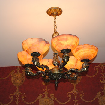 French Deco Cast Bronze Chandelier - Lamps