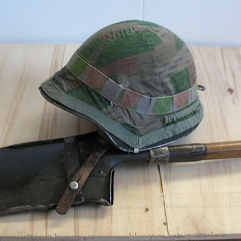 WWII Swiss M18/43 steel helmet and entrenching shovel