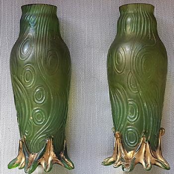 Welz/Kralik Spiraloptisch Green glass vases ???