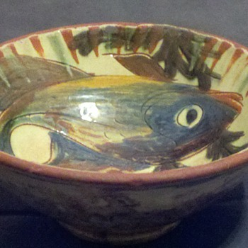 Tin glazed fish bowl with sig  - Art Pottery