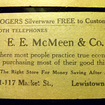 1925 Rodgers Silverware Coupons from McMeens of Lewistown, PA - Paper