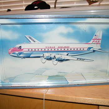VINTAGE &quot;PAA&quot; PAN-AM&quot; AIRLINES PULL STRING MUSIC PICTURE / AIRPLANE MOVES UP AND DOWN       - Advertising