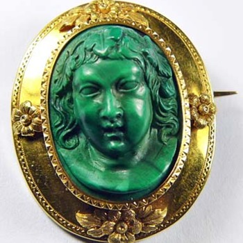 Early rare malachite cameo - Victorian Era