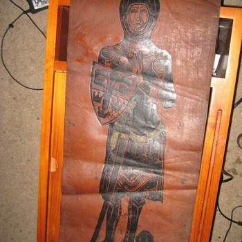 Old leather scroll with image of a dressed up man - Posters and Prints