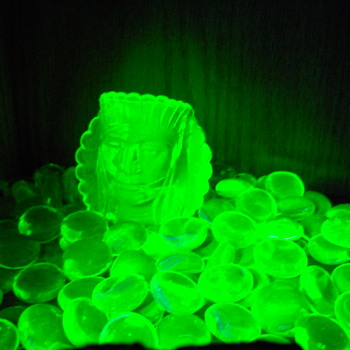 Uranium glass under UV light