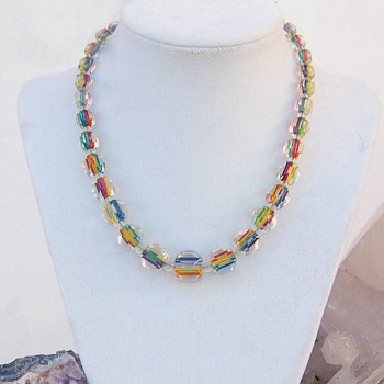 Art Deco era Czech faceted rainbow iris bead necklace - Costume Jewelry
